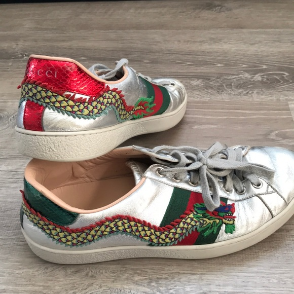 d9a1436622b Gucci Other - Gucci silver ace dragon embroidered sneakers